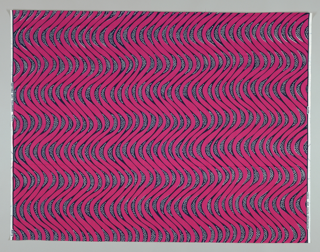 Wavy lines with dots. Printed in indigo and hot pink on a white ground.