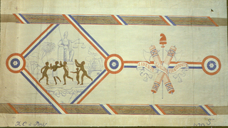 """Group of five figures, either unclothed or partially clad, dancing around seated figure of Justice, holding scales. Thatched hut in background. This scene is enclosed in a square diamond shape, framed by red, white & blue ribbon. At top and bottom edge of diamond is a narrow brown band of oak leaves and acorns. The bands are wrapped with the red, white and blue ribbon. Alternating with the scene of Justice are fasces and a Phrygian cap, wrapped in a banner reading: """"Liberte, Egalite, Fraternite""""."""