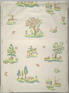 Children's paper said to have appeal for girls. Design contains stylized landscape vignettes, including tree with dogs, tree with deer, tree with squirrels, man on horse. Butterflies and birds at random between vignettes. Printed in polychrome on white ground. Pattern #931, produced by Hobe Erwin Editions.