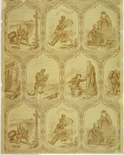 "Children's or nursery paper with six scenes from ""Pilgrim's Progress"". Each is enclosed in foliated cartouche frames in two horizontal rows of three scenes each. Intaglio printed in sepia tones on machine-made ungrounded paper."