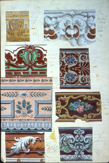 Eight swatches of wallpaper borders. Motifs include architectural molding, rope twist, Rococo Revival.