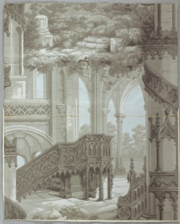 Gothic revival-style with architectural elements including columns, stairs and fretwork. Also contains landscape elements. Printed in grisaille or shades of gray.