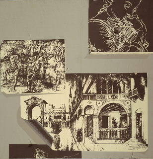 Old Italian drawings, brown on cream, appear to be tacked on the wall in random arrangement. Some curl up at the corners and sides and have shadows along the edges, printed on gray ground. Modern interpretation of a print room paper in trompe l'oeil.