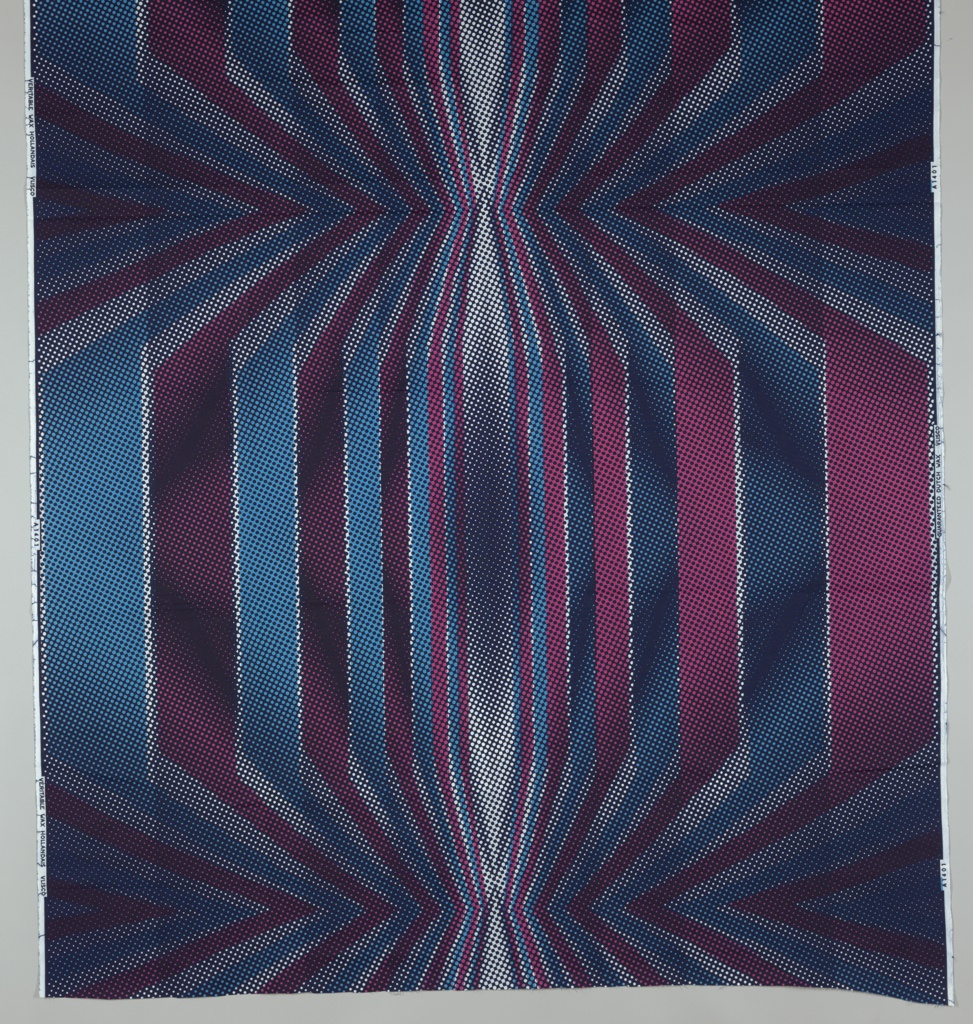 Op-art dot pattern. Printed in blue and pink on white ground.