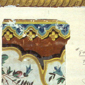 Two borders mounted on a board. One of the motifs is a knotted drapery in a wreath, rope twist.