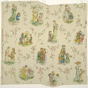 Children's paper from the original roll of Kate Greenaway paper depicting the twelve months of the year. Groups of two or three figures (mostly children) are arranged at random. The name of the month represented appears beneath each group. Apple blossoms and leaves tied with pink ribbon surround the various motifs. Being intaglio printed with oil colors would allow this paper to be wiped clean. Printed in blue, green, pink, yellow-brown and lavender on cream ground.