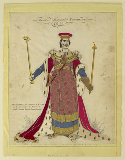 Vertical rectangle. The full-length portrait of a man, facing the spectator. He is dressed in full ceremonial robes, and carries the symbols of his rank in his hand. Thoses areas, including the costume, have been cut out and replaced by tinsel and silk.