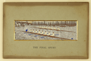 Two rowing shells are seen in a race. A bridge in the left distance. Trees along the distant shore. Title on mount. Verso: manufacturer's name and list of available subjects.