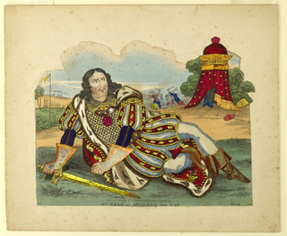 Horizontal format. Figure of actor Edmund Kean playing the character of Shakespeare's King Richard III. Dressed in elaborately decorated costume and holding a sword, he reclines on a grassy lawn in the foreground with a concerned expression. In the background, an elaborate domed tent, flags, and soldiers.
