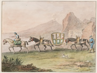 """Horizontal rectangle. A man riding upon a horse which carries luggage beside him, leads the front mule carrying with another a sedan chair in which a woman and a man sit. A driver with a long stick walks at right. A dog accompanies the caravans. In the background are the sea, Vesuvius and other mountains. Framing lines. Signature in the lower right corner: """"1828/Gatta f."""""""