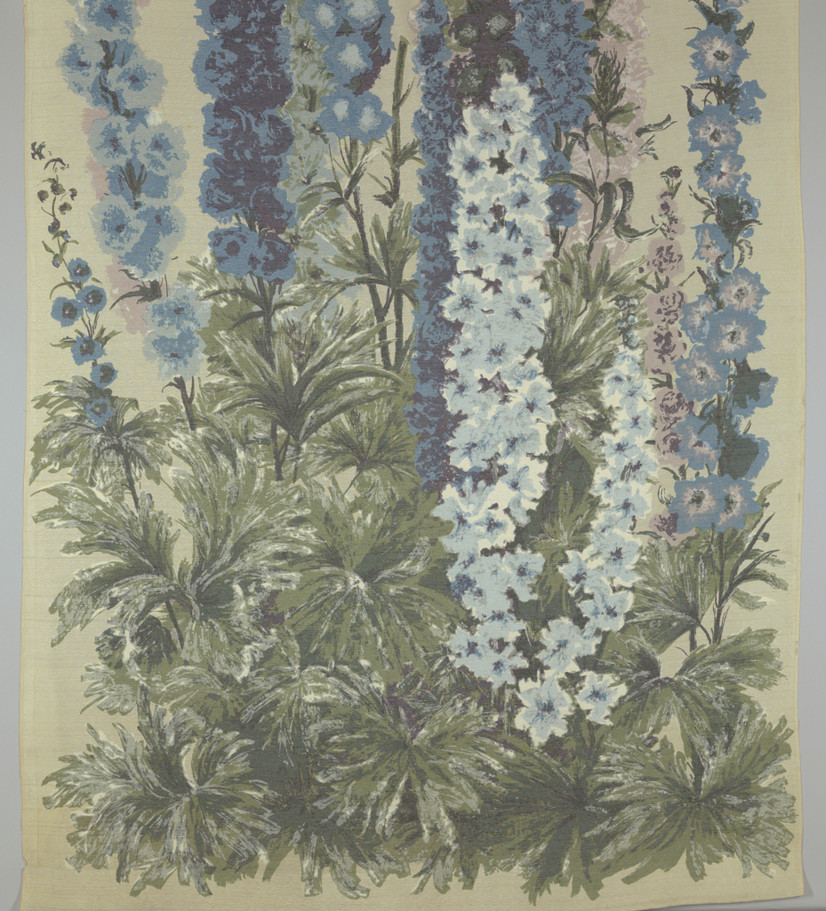 Non-repeating design of delphiniums, printed in greens, blues, lavenders and white on off-white.