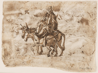 Recto: The Virgin riding on a donkey and another donkey beside her. A large head of Joseph in front of the donkeys, suggesting that he is leading them on foot. Verso: Crucifixion