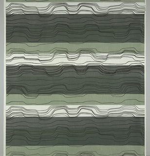 Horizontal bands in white and three shades of green, overprinted with undulating black lines.
