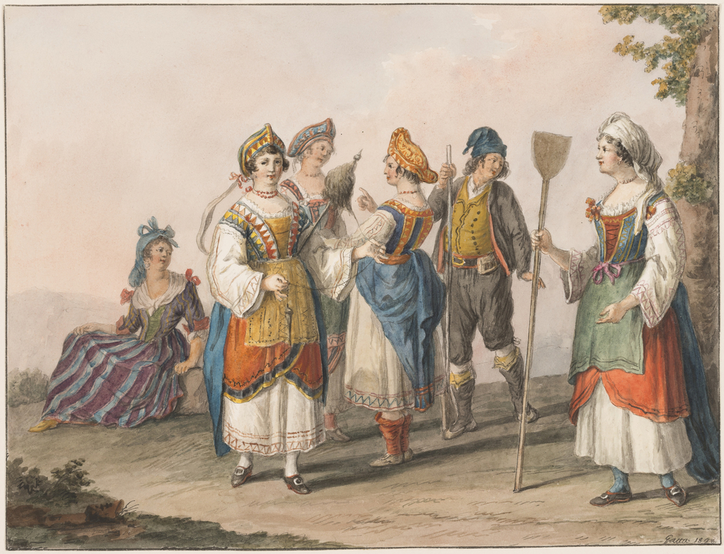Drawing, Water color; Costumes of South Calabria