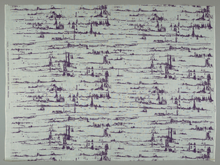 Length of printed cotton with textural horizontal stripes suggesting landscape, in mauve on white ground.