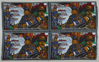 Rectangular panel format with multiple views of Marcus Garvey in different clothing, against a ground of ships.