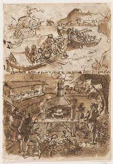 Vertical rectangle. Verso: upper section: Group of men in two small open boats, in foreground. A galleon in background, left. Inscription below. Lower section: In an open area, a furnace with steam rising from a funnel above it. Figures in foreground. Recto: upper section: Hunting scene. Men on horseback attacking bulls. Lower section: Men in small boats approaching rocky shore. Figures at lower right.