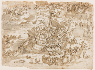 A large ship close to a port. The ship is filled with people and Christ is seated in the stern, the dove rising above His head in a halo of light. People stand on the shore, and several small boats surround the large ship. A winged bull and angels blowing trumpets, upper left. Verso: inscription