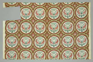 Roundels, each enclosing paired addorsed birds. Quatrefoil ornament between roundels. Colors are light green, dark green, red and maroon. Design styled after Cooper Hewitt textile 1902-1-887.