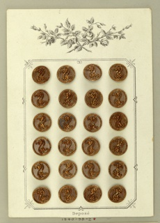 24 copper buttons, each with small beaded border and motif of two leaves and chain. Card is a blueish gray and has image of roses in black.