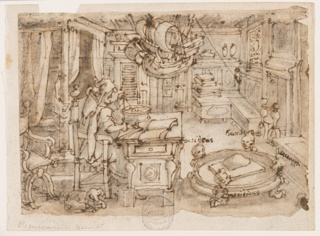 "Recto: A scholar in his richly furnished study, seated at his desk using a compass. (He is identified in the related print as the legendary Flavius of Amalfi, thought to have invented the compass.) A low bowl stands in the right foreground supported by four lion feet over which human heads rise, representing the quarters of the globe: ""ocsidens / tramontane / levanus / meridiens.""  A ship model hangs from the ceiling. Verso: an inscription in Stradanus' hand,  ""brief vanden 25 jannuare 3 hebben..."""