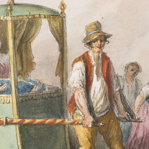 """Horizontal rectangle. Two men carry a sedan chair, labeled """"NAP[IOO {or} ION]"""" with two persons. A woman and three children accompany it in the middle distance. In the foreground at left sits a woman with a child. In the middle distance at left is shown the corner of a palatial house. Framing lines. Signature in the lower right corner: """"Gatta."""""""