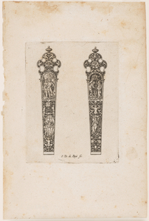 Two knife handles with classical and figural motifs terminating in a pierced top