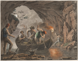 Horizontal rectangle. Three fishermen in boat and another seated upon a stone are shown fishing in a huge cave lighted by a fire at the stern of the boat. A fifth man stands at left. Framing lines.