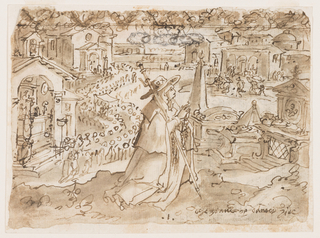 Recto: A female pilgrim with a staff. Kneeling before an outdoor altar; in background a church, an outdoor altar and a religious procession with a bishop being carried in it. Verso: catching lion with piece of cloth