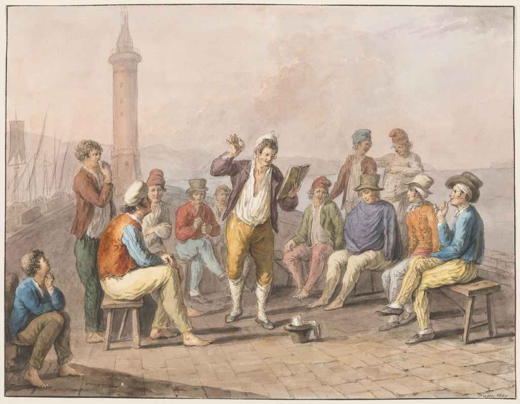 Drawing, Water color; Rinaldo Rinaldini is reciting upon the jetty