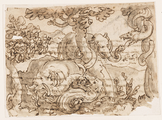 Horizontal rectangle. An elephant struggling with a serpent, in the foreground. The serpent grasps the trunk of the elephant between its jaws. At right, another serpent, coiled about a tree, threatens an elephant standing behind a tree, center.