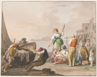 "Horizontal rectangle. Three men move a boat lying on the shore, at left. At right are a standing and spinning woman, a seated woman nursing a baby with a girl standing beside her, three men and an eating child. At left is a rock, at right is a promontory with structure, in the background are Capri and the peninsula of Sorrento. Framing line. The signature is in the lower right corner: ""Gatta f. 1828."""