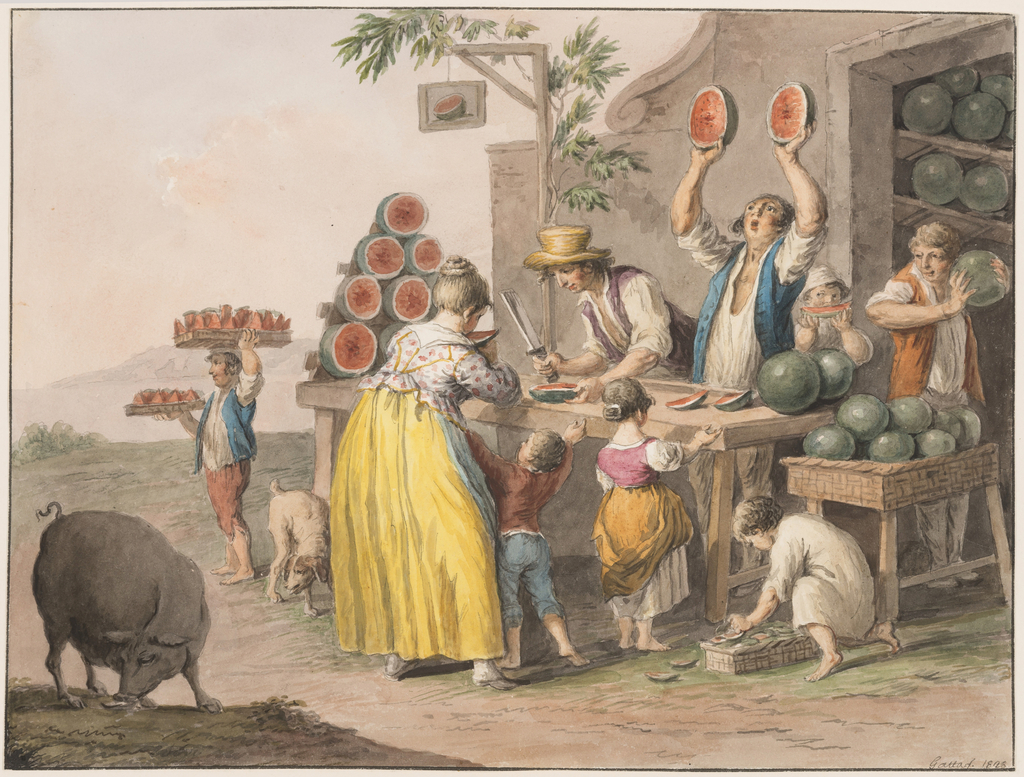 """Horizontal rectangle. The business goes on in front of the storeroom, which is in the basement at the corner of a house. A man is busy cutting a melon, another raises two halves and shouts. A boy carries two trays with pieces of melons. Children eat or await their shares. A boy tries the ripeness of a melon, a child searches among the peels. A boy is shown eating in the left corner. Framing line. The signature is in the lower right corner: """"Gatta f. 1828."""""""