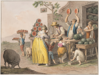 "Horizontal rectangle. The business goes on in front of the storeroom, which is in the basement at the corner of a house. A man is busy cutting a melon, another raises two halves and shouts. A boy carries two trays with pieces of melons. Children eat or await their shares. A boy tries the ripeness of a melon, a child searches among the peels. A boy is shown eating in the left corner. Framing line. The signature is in the lower right corner: ""Gatta f. 1828."""