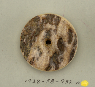 5 circular buttons made of deer's antlers with rough portion used for ornament; one hole.  Component -a is on card 2