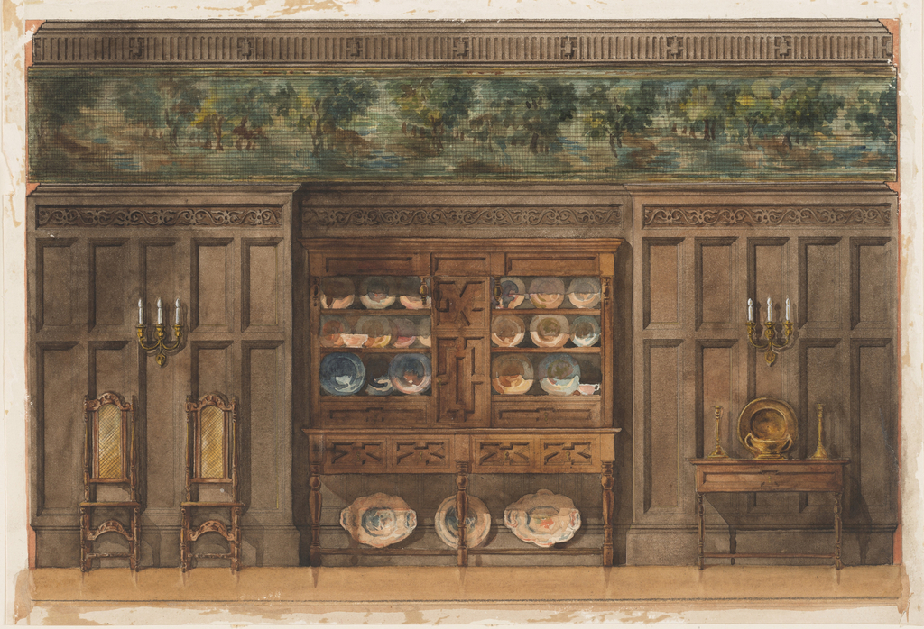 Design for the wall of a panelled room, with a wide border of wall-paper between the cornice and the wall-panelling. In the center a china cupboard, flanked by two side chairs, left; table, right.