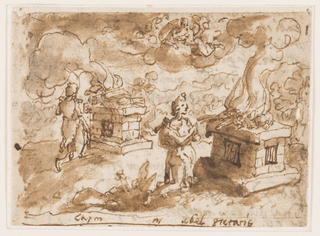 "Horizontal rectangle. Recto: Outdoor scene. Cain kneels before an altar at left on which is placed his burnt offering. Abel, in a similar fashion, is seen at right. The Lord appears above. Inscription below: ""Cain"" left; ""Abel pietatis"" right."