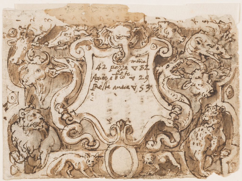 An escutcheon is in the center. It is flanked by dragons. The head of an elephant is shown above, in the center, heads of a boar and of an ape, respectively, upon upper scrolls. In the intervals, between the escutcheon and the lateral framings are two buffaloes and a lion, at left, a dragon and a tiger, at right. Below is a boar with an ovoid. A fox is shown at left, a hyena at right. Verso: inscriptions dated 2 april and 14 June 1597