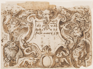 "Horizontal rectangle. An escutcheon is in the center. It is flanked by dragons. The head of an elephant is shown above, in the center, heads of a boar and of an ape, respectively, upon upper scrolls. In the intervals, between the escutcheon and the lateral framings are two buffaloes and a lion, at left, a dragon and a tiger, at right. Below is a boar with an ovoid. A fox is shown at left, a hyena at right. Written in the escutcheon: ""morte/42 pezze sc 82/cento. a sc conto sc 29/Reste avere sc 53."" The figures ""1"" to ""12"" and again ""1"" to ""7"" are written vertically at the upper edge. Recto: ""gidone fistuli (?) 1/2 gambelotte g. II B 5 ...B 5/...lana biancha B 4/ e telle nere g. 8 B 4 monti (?)/adi g per lamanifatura [struck out and written over it:] p (?) seta 4 g 23 1/2 / E bottone 41 (1597) E adi 2 dapril pagai g 7 al sarte/a conto del gambelotte ba. 5 [then two lines struck out]/1579/A di 2 daprile io pago sc 16 papale/Recata dal procaccia iscopo di/Baccio/ E pagato una testone di Roma/ El gibone el gambelotte costo g 11 B 5 / lo pano biancho a telle nere costo g 8 B 4/bottoni sete manifatura costo g 4 / in tutto g 23 1/2. Adi 12 de giunio 1597 mandai Lalaico (?)."""