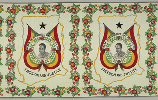 "Inside the outline of Ghana, a shield-shaped medallion is formed by two crossed flags. A portrait of Dr. Kwame Nkrumah, Prime Minister of Ghana, appears in the center, surrounded by flowers. Inscribed above is ""Ghana Independence Day, March 6, 1957"", and below, ""Freedom and Justice."" A square border of flowers surrounds the whole. Printed in black, green, yellow and red on a white ground."