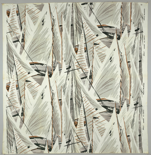 Sail boats, predominately sails, superimposed on each other and printed in black, brown and grays on white.