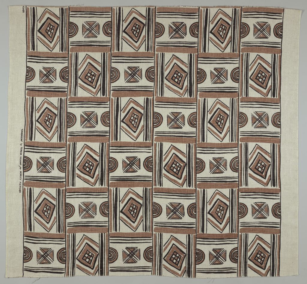 Large tangent squares enclosing alternately diamonds and a combination of half-circles and square. Printed in black and brown on natural unbleached linen.