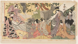 "Three panels joined to form a single composition. Description on verso of mount as follows: ""Beauties impersonating the eight sennin - Immortals.  Kinto beauty on carp-steed located in center which she conjures a small horse.  In front of the carp, Chinnan, holding a bowl from which issues a column of smoke enveloping a dragon.  At her right sits Tekkai breathing forth a diminutive reproduction of herself.  To the right, and facing the latter, stands Korejin with his tiger companion, the tail of which rises - true to tradition - in a sweeping curve back of the lady's head.  Next, at the right, stands Chokinka cutting fragments of cloth from her garments, and tossing them into the air, where they instantly turn into butterflies.  And below, in his kneeling position, Gaga-Sennin plays with his fabulous toad."""