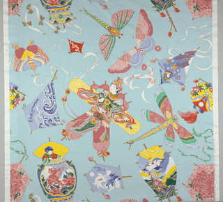 Straight repeat containing a variety of Chinese-inspired kites in bright colors on a light blue background.