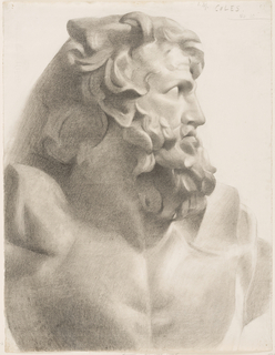 Head and shoulders of a beard male classical figure, the head turned in right profile.