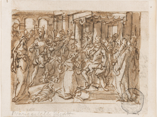 Horizontal rectangle. Solomon is seated at right, surrounded by his court. One of the women kneels before him; the other stands at left. Between them a soldier holds the infant, his left hand holding an upraised sword.