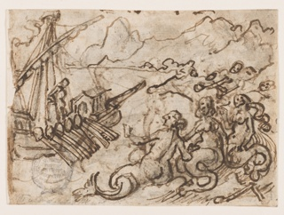 Horizontal rectangle. Verso: A figure stands aboard a ship, at left. Near the shore, in right foreground, a group of mermaids. Mountains in distance. Recto: Horizontal rectangle. A group of spirits kneel and stand, left, before a man in full armor, who walks toward them.