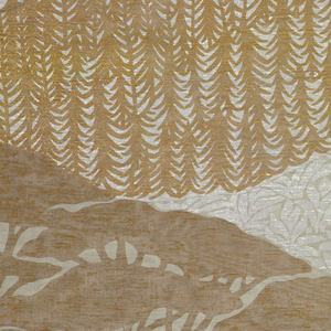 Two related panels with undulating bands of vegetation, trees, mountains and sky. Two browns, white and blue on beige ground.