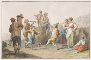 "Horizontal rectangle. Two male peasants dance in front of a cask (butt), upon which a man sits, a boy stands. A man blows a bagpipe, another a recorder. Two women stand; a third sits looking on at right. Mountainous country with a town at right. Framing lines. Signature: ""Gatta 1827."""