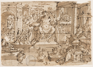"""Horizontal rectangle. In the center, a man is seated on a dais, holding a lighted torch in his left hand and a scroll in his right. Pavilions lower left and right, buildings and figures in background. Open casket, right; other objects of luxury, in foreground. Twenty lines of inscription, recto: including the dates: """"1594"""" and """"1595."""""""
